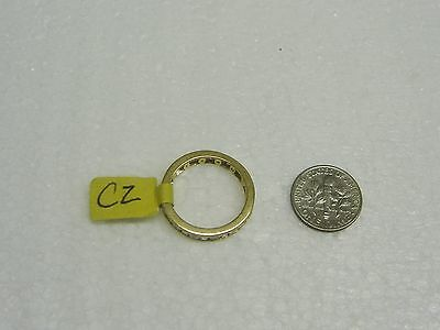 14K Yellow Gold Channel Set Baguette/Round Cubic Zirconia Ring Size 8 G32-R 9