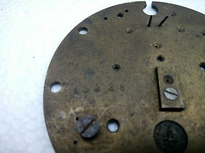 """Antique Vintage French Japy Freres Brass Clock Plate 3 1/4"""" Diameter 7"""
