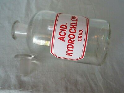 "gr. Apothekerflasche Apotherkerglas ""ACID HYDROCHLOR. CRUD. geschliffener Stopfe 4"