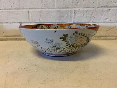 Antique Japanese Signed Kutani Porcelain Bowl w/ Figures in Landscape Decoration 8