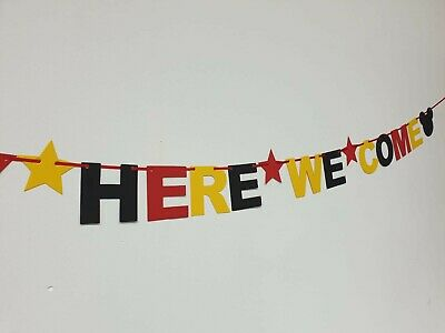 DISNEY REVEAL SURPRISE BANNER BLACK RED YELLOW Were off to Disneyland here we go 2