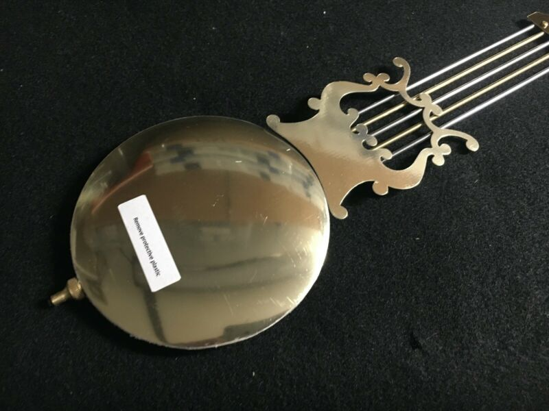 "Quartz Battery Clock Lyre Pendulum Brass 4 1/2"" Diameter Bob Single Hook 2"