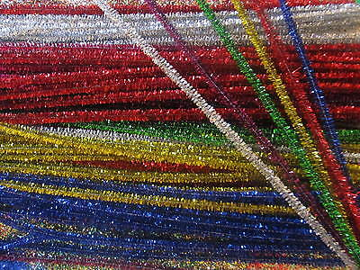 Gold and Silver Tinsel Pipe Cleaners Chenille Craft Stems 30cm 50pcs