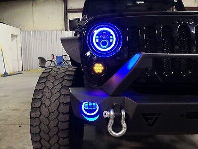 7 In RGB LED Halo Headlights Fog Light Combo Kit for Jeep Wrangler JK 07 to 2017 7