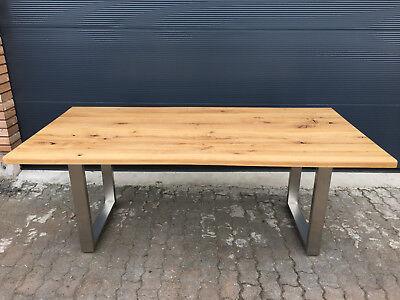 Tisch Esstisch Wildeiche Massiv Geölt Baumkante Edelstahl Gestell 200x100 Cm
