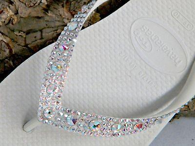 0b8f7e5064a0 ... Havaianas Wedding Flip Flops Full Moon w  Swarovski Crystal Bling Bridal  Shoes 2