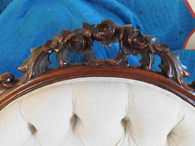 """Victorian Carved Sofa Mahogany Off-White Linen Type Fabric 40""""H 83 3/4""""W 5"""