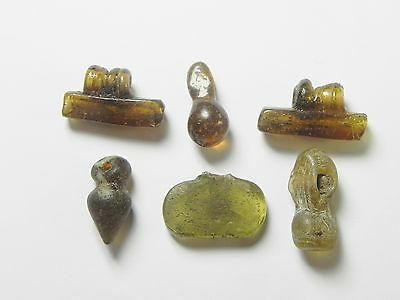 Zurqieh - Vs17- Roman Egypt , Lot Of 6 Glass Beads & Pendants , 300 - 400 A.d