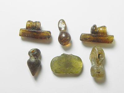 Zurqieh - Vs17- Roman Egypt , Lot Of 6 Glass Beads & Pendants , 300 - 400 A.d 3