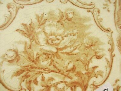 Antique Ceramic Tile Vintage Floral Flower Gilt Leaf Art Nouveau Flowers Old 5