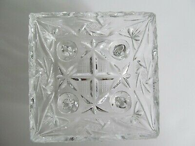 Crystal Glass Bowl Dish 4 inch Square Footed Pinwheel Etched Stars Faceted Vtg 4