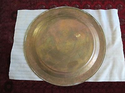 "Gorgeous Antique Persian Islamic Engraved Copper Tray 38"" / 97cm/ 14lbs 7"