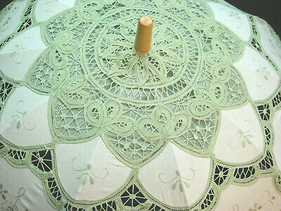 CottonBattenberg Lace Parasol Sage Green and off wht Victorian Edwardian style 2