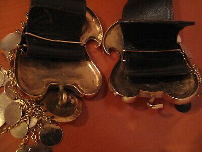 Rare Tribal Belt Buckle Bulgarian Balkan Pafti With Bonwit Teller Leather 9