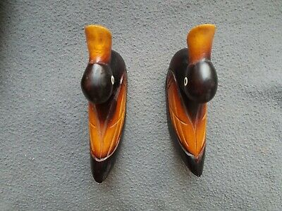 Vintage Small Carved & Stained Wooden Ducks - Pair 5 Inches each 2