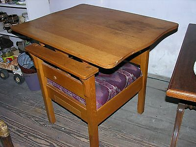 Vintage Solid Oak Convertible Chair Table 4