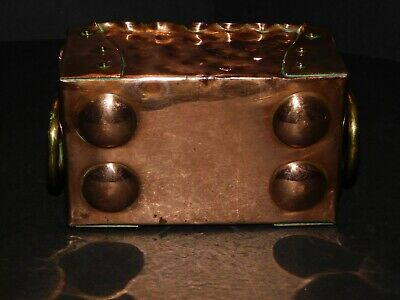 Small Arts & Crafts Hammered & Riveted Copper Trough With Brass Ring Handles 6