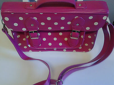 Pink with white spots Satchel (Polka) Faux Leather 3