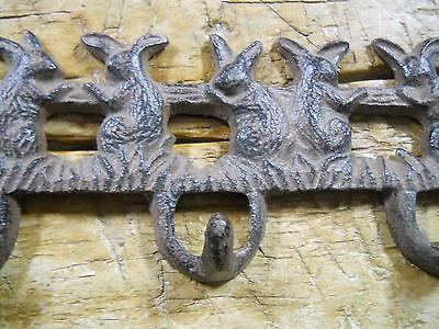 2 Cast Iron BUNNY Towel Coat Hooks, Hat Hook, Key Rack GARDEN RABBIT Brown 2