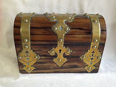 Victorian Coromandel Wood Brass Domed Stationery Box & Blotter Letter Writing 3
