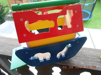 Arche Noah Steck Holz Motorik Spielzeug  lackiertes Holz wenig bespielt Steckspiele
