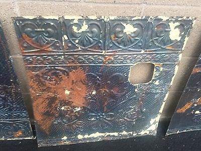 "GORGEOUS antique VICTORIAN tin ceiling pressed edge pattern 5- 24"" sq pcs AS IS"