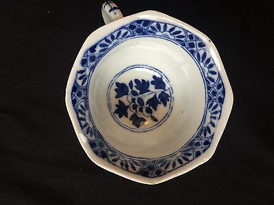 4 19C Chinese Porcelain Cup & Saucer Blue White 'Flowers' Antique Kangxi Marked 12