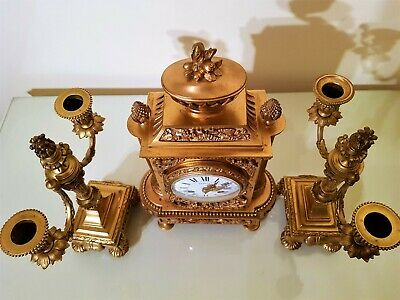 19Th Century French Ormolu Bronze Mantel Clock Garniture. 6