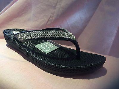 20fb97479 ... S1 Ladies Womens Ella Toe Post Sandals Low Wedge Diamante Flip Flops  Summer Sun 5