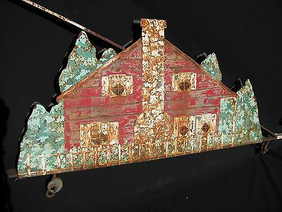 Antique Iron and Painted Tin Sign Hanging Bracket 2