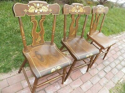 Set Of 3 Stenciled Decorated Plank Seat EBERSOL Chairs PA. 1987 Rustic Primitive 2