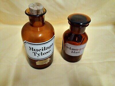 2 x Apotheker-Flaschen-Standgefäß Braunglas mit Glasstopfen und Korken 250 ml 2