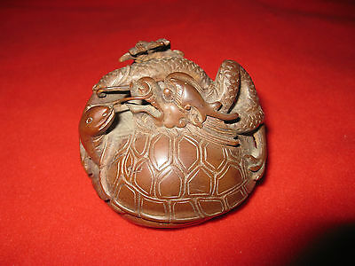 A 19th Century Hand-Carved Wood Dragon & Turtle 2