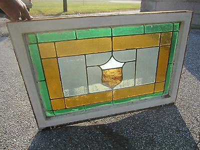 ~ Antique American Stained Glass Window ~ 24 X 36 ~ Architectural Salvage ~ 9