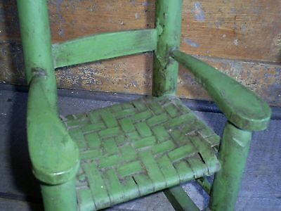 Antique Ladder Back Child's Toy Woven Splint Seat Wood Rocking Chair Old Paint 5