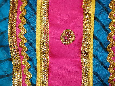 Ladies / Girls Striped Chiffon Saree With Contrasting Border And Blouse 3