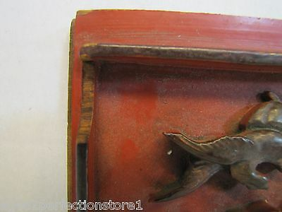 Antique Asian Hand Carved Panel red gold paint flowers bird wall architectural 7