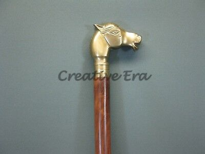 Antique Style Horse VINTAGE Victorian Brass Head Handle Wooden Walking Cane Gift 7