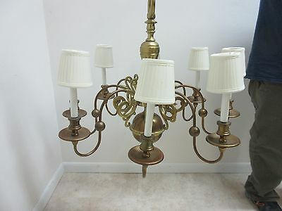 Vintage Brass Quality Williamsburg Federal Hanging Chandelier 3