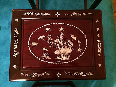 Antique Chinese Rosewood Hand Made Nesting Tables Inlaid Mother Of Pearl 3