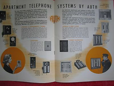 1940's AUTH, APARTMENT DOOR CHIMES,BELLS,TELEPHONE SYSTEMS,MAIL BOXES BROCHURE 2