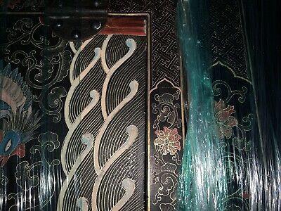 antique Chinese Black Lacquer Cabinet Dragons Double Top Wedding Chinoiserie 4
