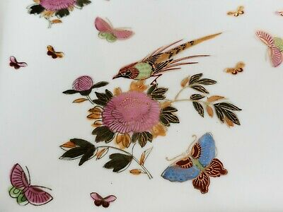 Small porcelain Tray hand painted bird, butterflies, flowers, gold accents 2