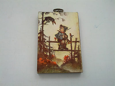 Original Sealed Package Wall Hanging Vintage Hummel Print on Wood Plaque Little Boy on Fence with Birds 5x7x.75 inches Packagin