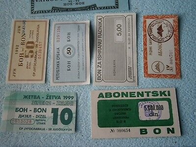 YUGOSLAVIA SERBIA LOT COUPON VOUCHER FOOD subscrip DOCUMENT 1990 GAS PETROL FUEL 2