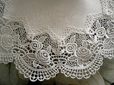 """Classic Rose Lace Doily European Round 16"""" Table Topper Antique White 2"""