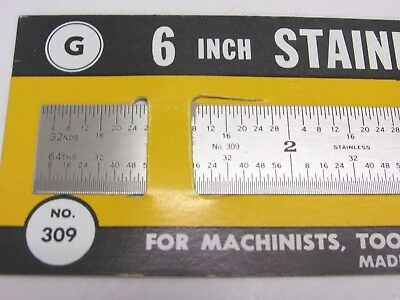 """NEW! GENERAL TOOLS 6"""" x 3/4"""" FLEXIBLE STAINLESS STEEL RULE, 32nd 64th, No. 309 2"""