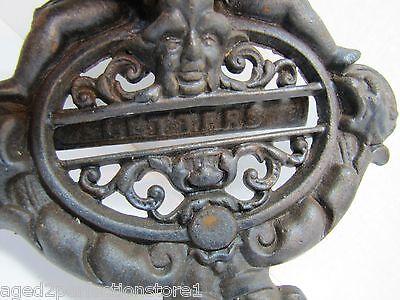 Vintage Cast Iron Figural Door Knocker Letters Mail Slot lrg ornate art nouveau 7