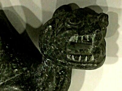 Rare Antique Chinese Black Stone Hand Carved Lion Statue Figurine 4