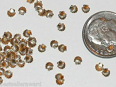 5pc Miniature Dollhouse tiny Silver Golden ocean Sea shells sun clam charm 4-7mm